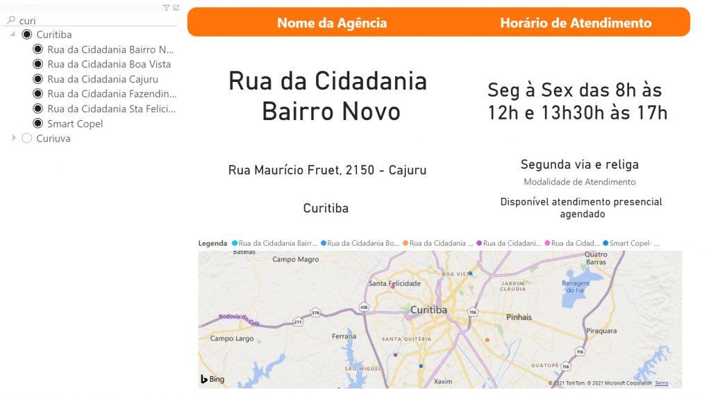 Print do Mapa com as Agências de Atendimento
