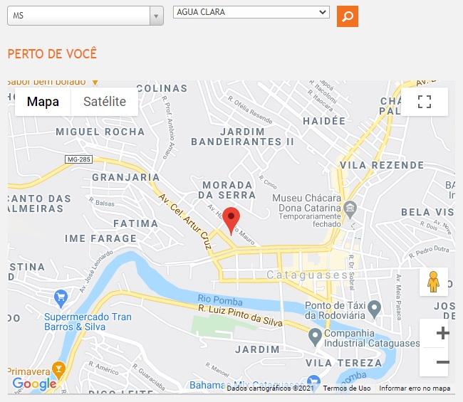 Print do Mapa com as lojas de atendimento presencial da Energisa MS
