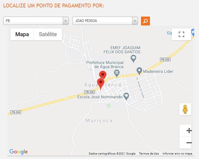 Print do Mapa com os locais de pagamento da conta de luz