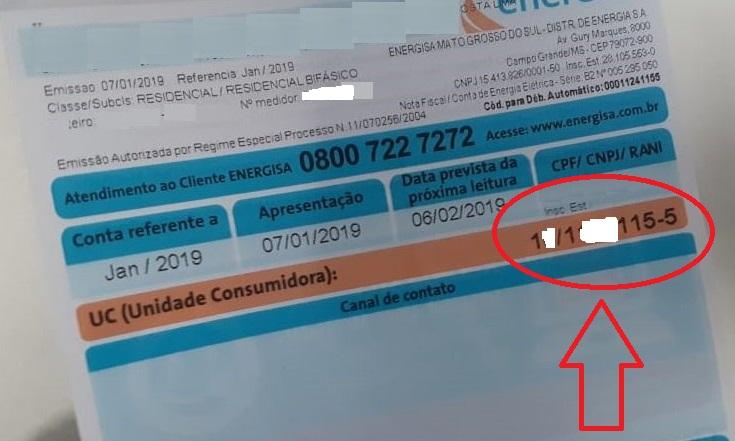 Print da Número da unidade consumidora da conta de luz Energisa MS