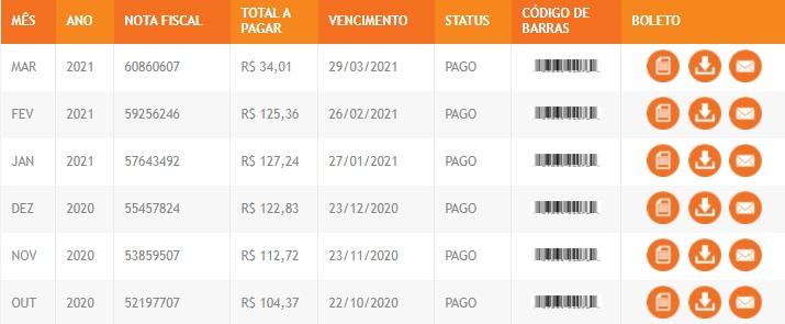 Print da Pagina com Extrato e Boleto para Pagamento da da Energisa Paraíba segunda via