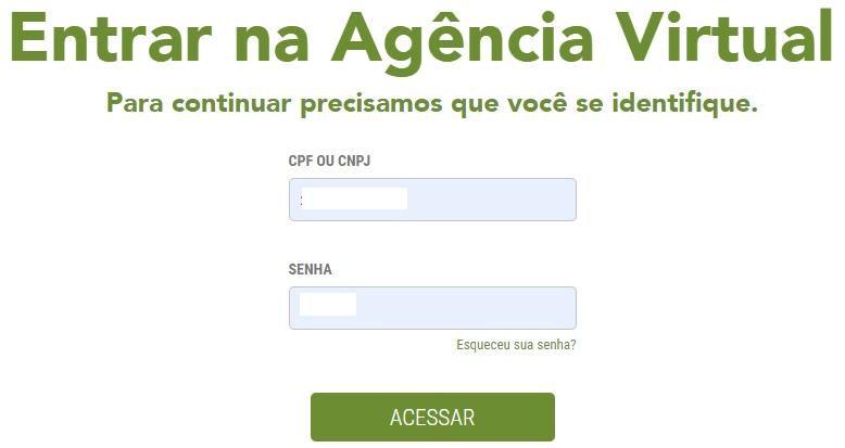 Print da Pagina de acesso a agência virtual para emissão da Celpe segunda via de conta