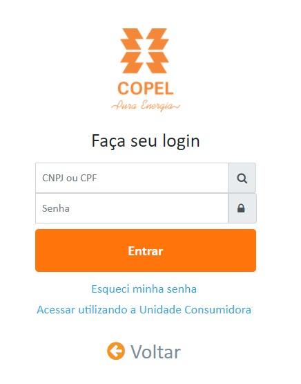 Print da Pagina de acesso a segunda via Copel com senha