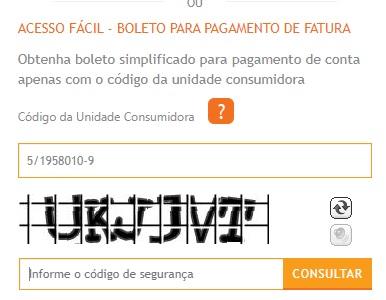 Print da Pagina de acesso fácil ao boleto para pagamento de fatura da Energisa Paraíba segunda via