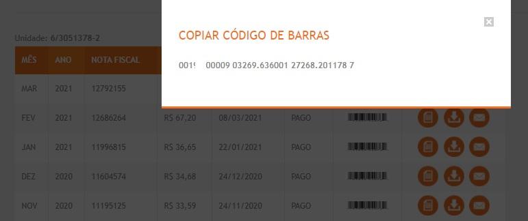 Print da Tabela com dados sobre o código de barras da Energisa segunda via MT