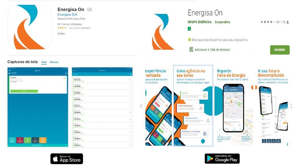 Print da Previa do aplicativo Energisa ON para sistema Android e IOS