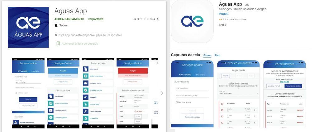 Previa do Aplicativo Águas APP na Google Play e na App Store