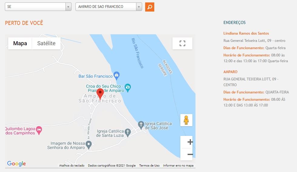 Print do Mapa com o endereço das agências de atendimento da Energisa SE