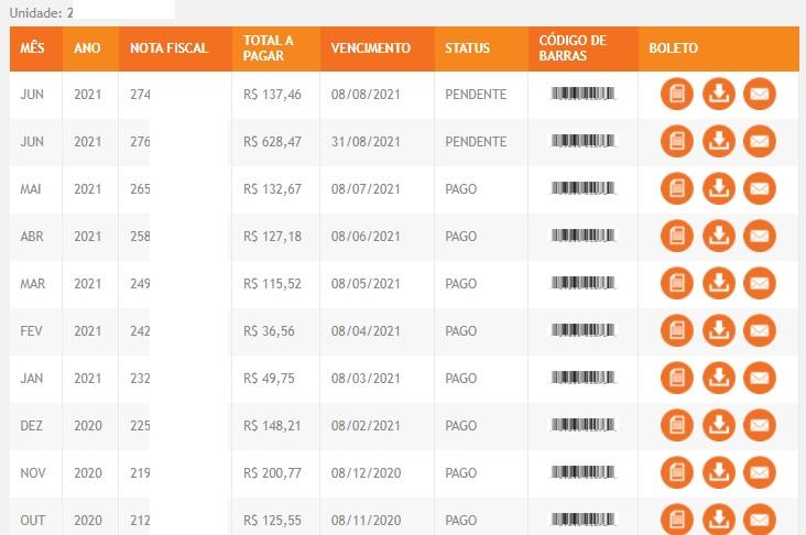 Print da Pagina com boletos pagos e pendentes da Energisa SE