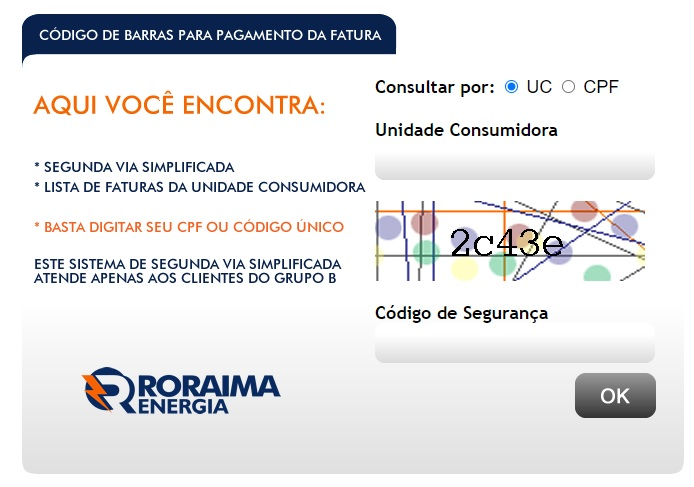 Print da Pagina de acesso ao código de barras da 2 Via Roraima Energia