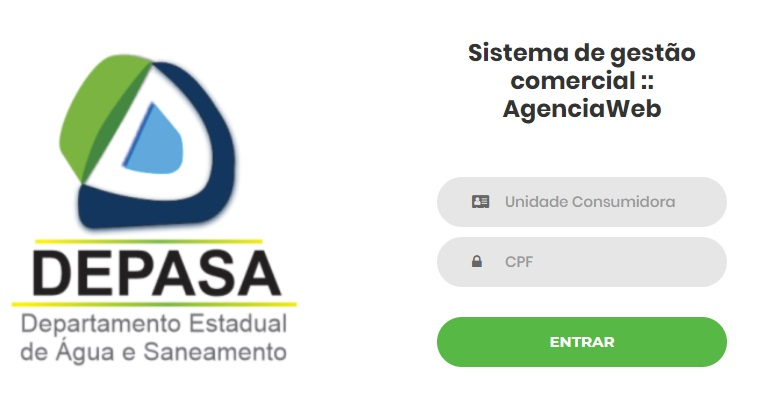 Print da tela de login da Agência web Depasa